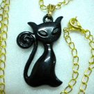 Black cat pat animal charm pendant necklace