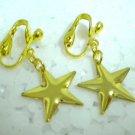 Girl jewelry Twinkle golden star dangle clip on earring