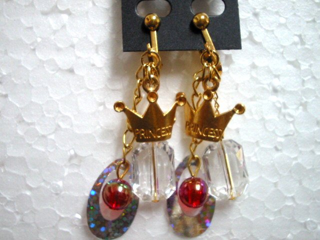 Girl jewelry Golden princess tiara sequin dangle clip on earring