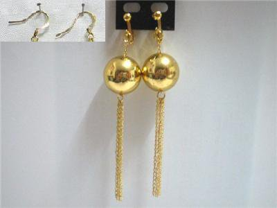 """Holiday gift for woman 4"""" Golden ball drop chain dangle clip on earring"""