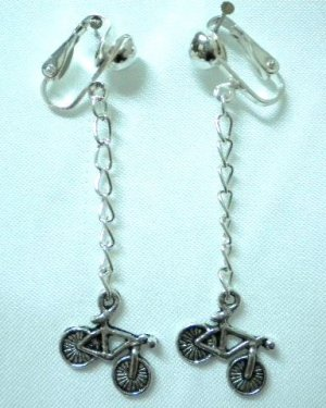 Girl jewelry Bicycle bike charm dangle clip on earring