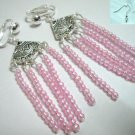 Girl jewelry Rose pink bead drop shell dangle clip on earring