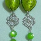 Lime green long dangle lampwork heart clip on earring