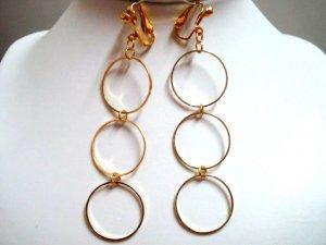 """3.5"""" Triple golden hoop dangle clip on earring"""