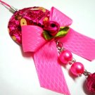 Rose flower dangle keychain mobile phone string charm