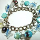 "Glass butterfly mop shell coin bracelet 6.5"" -8.5"""