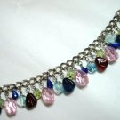 Glass bead dangle chain bracelet 8""