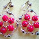 Rose red crystal silver flower dangle clip on earring