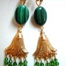 Handmade malachite dangle clip on earring woman gift