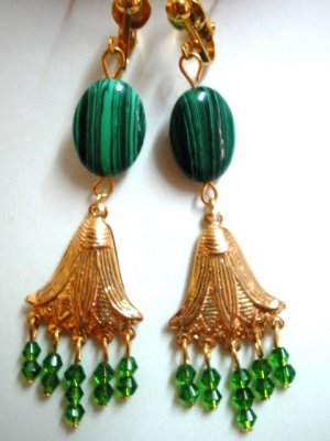Handmade malachite dangle clip on earring woman gift