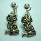 Children Jewelry owl charm clip on earring
