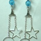 Hoop star circle charm long dangle clip on earring 10.8cm