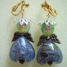 Girl jewelry lampwork angel wing charm dangle clip on earring