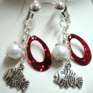 Girl jewelry Fish charm dangle clip on earring