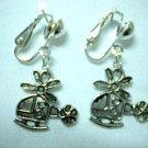 Girl jewelry plane charm dangle clip on earring