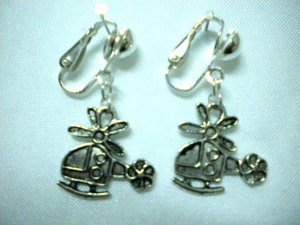 Girl jewelry plane charm dangle clip on earring