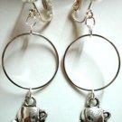 Girl jewelry tea cup charm circle hoop clip on earring
