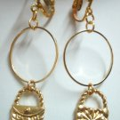 Girl Jewelry bag charm golden circle hoop clip on earring