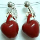 Girl Jewelry red apple clip on earring