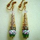 "Woman Jewelry Floral lampwork  filigree clip on earring 2""  (4.8cm)"