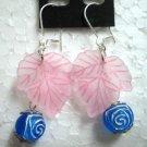 """Girl jewelry maple & rose bead dangle pierced earring 3-3/4"""" 9.5cm"""