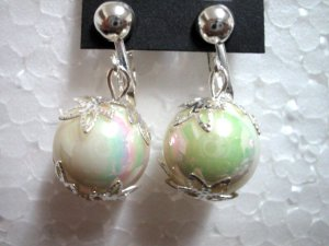 Jewelry rainbow white bead clip on earring