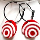"Woman jewelry hoop coin bead pierced earring 2-1/8"" 6cm"