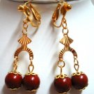 "Handmade red jasper clip on earring dangle earring 2"" (5cm)"