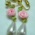 Girl jewelry ribbon rose flower faux pearl teardrop dangle clip on earring