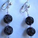 Girl earring Girl jewelry Black rose flower dangle clip on earring