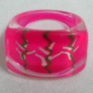 Red lucite ring children ring girl ring US 4-1/4