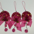 Hot pink hat pink rose & beads mobile phone string lot of 3