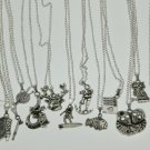 Girl's jewelry silver charms pendant necklace birthday party lot