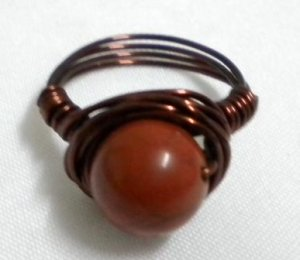 Handmade Woman jewelry wire wrap gemstone red jasper ring US Size 7-3/4