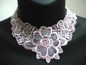 Handmade Lolita gothic victoria collar rose flower lace choker necklace