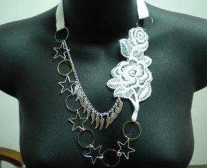Handmade Lolita gothic victoria white rose flower lace angel wing necklace