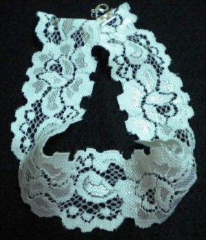 Handmade Lolita white rose flower collar stretch lace choker necklace