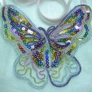 Handmade Lolita Rainbow sequin tulle butterfly bib statement ribbon necklace