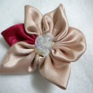 Handmade satin blossom sequin stamen flower hair clip