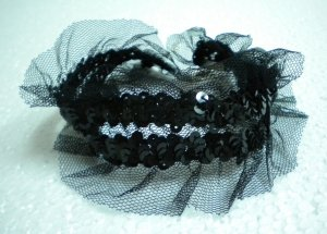 HOT SALE $10 Handmade Gothic Lolita tulle sequin lace stretch choker necklace