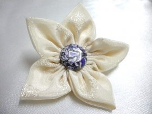 Handmade silk fabric gemstone turquoise stamen flower hair clip