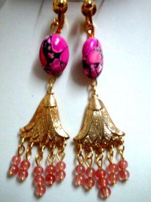 Handmade pink turquoise cherry jade clip on earring