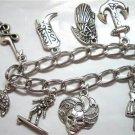Silver metal charms dangle chain bracelet