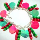 Handmade sequin apple bead bracelet up to 8.5""