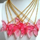 Large rose pink butterfly pendant necklace gift one piece