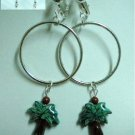 Huge silver hoop ceramic green tree clip on earring