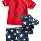 NWT NEXT Baby boy infant Swim Short, Vest & hat 3 pcs Set 9-12 months UPF 50+
