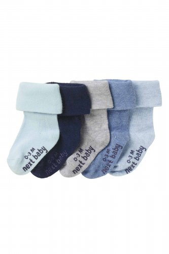 NEW Baby boy infant Next logo print sock 5 pairs size 6-12 months