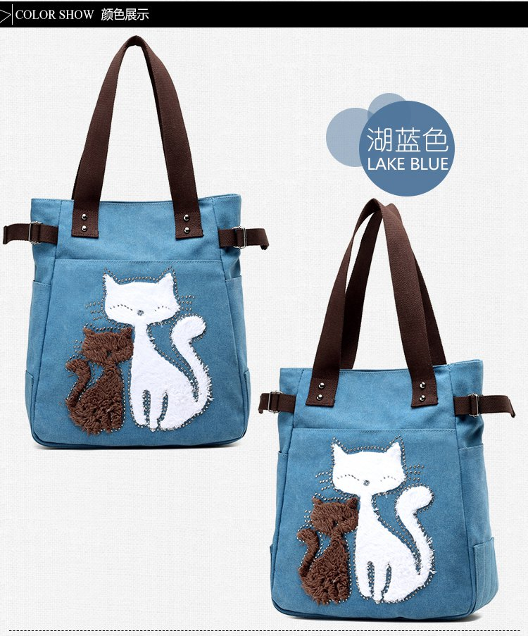Women Large Capacity Canvas Tote Bag With Cartoon Cute Cats