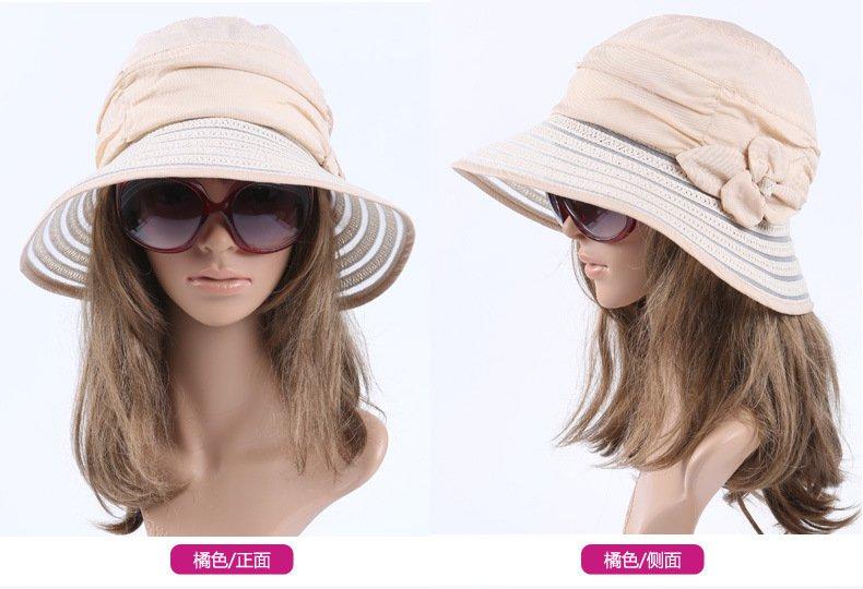 ORANGE Wide Brim Summer Sun Protection Hat Neck Cover For Women